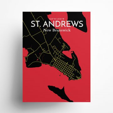 "St. Andrews city map poster in Contrast of size 18"" x 24"""