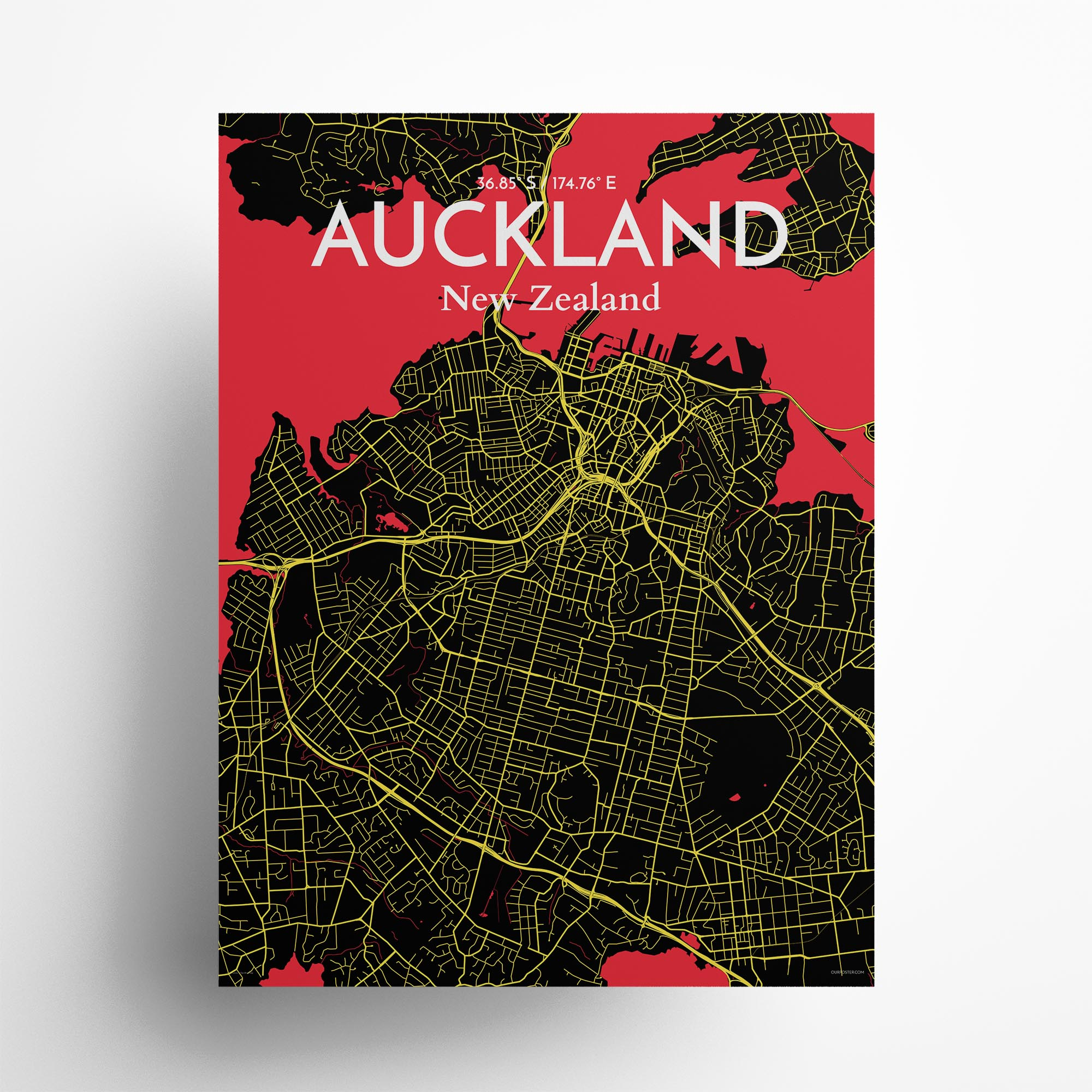 "Auckland city map poster in Contrast of size 18"" x 24"""