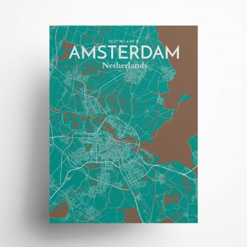 "Amsterdam city map poster in Nature of size 18"" x 24"""