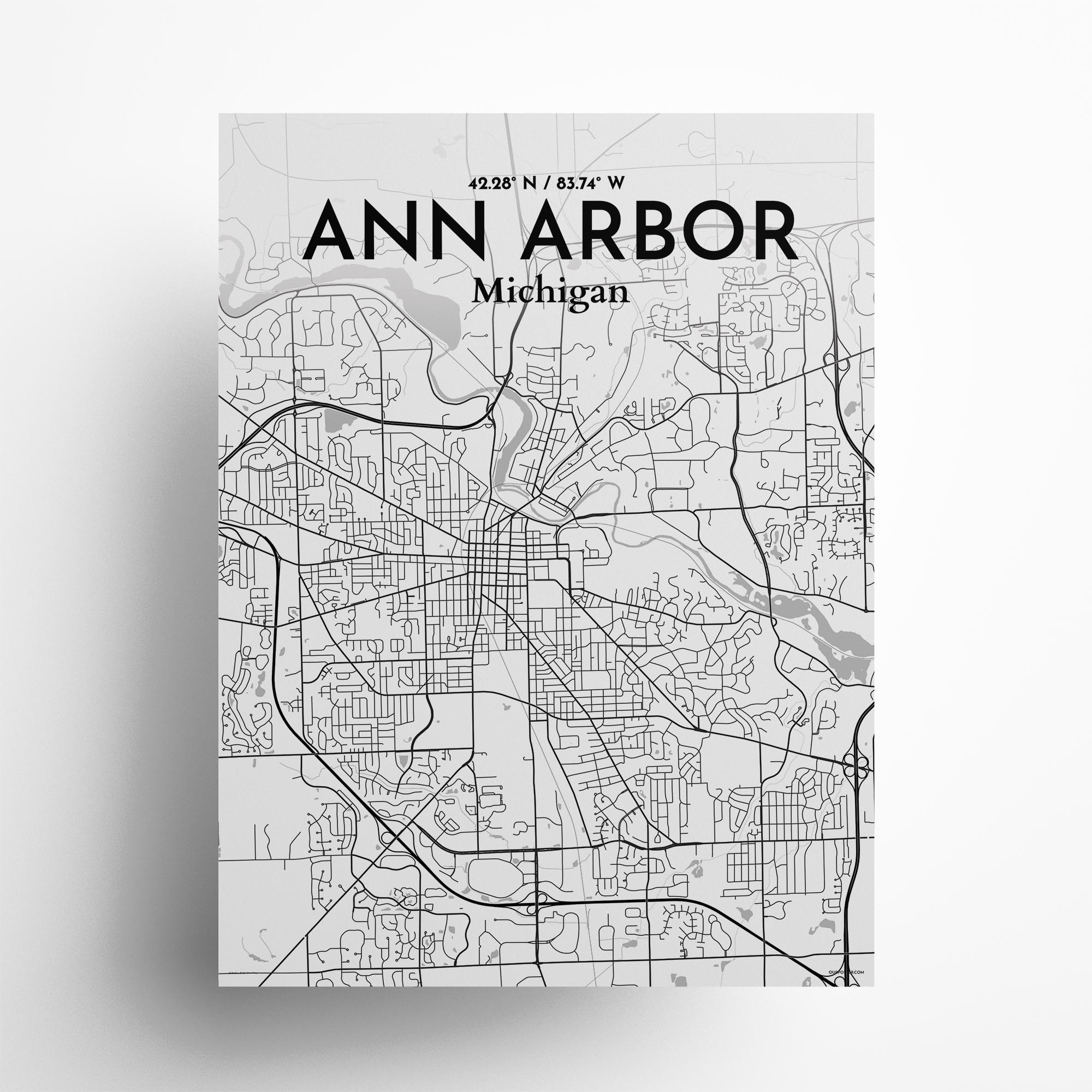"Ann Arbor city map poster in Tones of size 18"" x 24"""