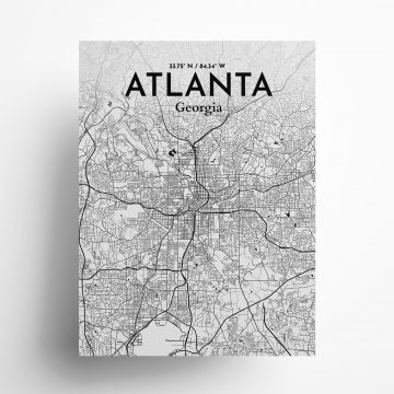 "Atlanta city map poster in Ink of size 18"" x 24"""