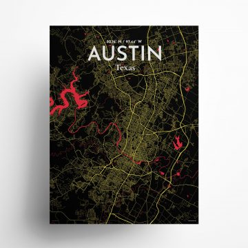 "Austin city map poster in Contrast of size 18"" x 24"""