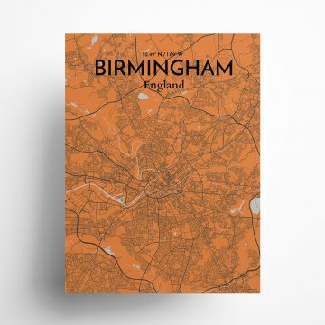 "Birmingham city map poster in Oranje of size 18"" x 24"""