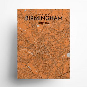 "Birmingham city map poster in Oranje of size 18"" x 24"""