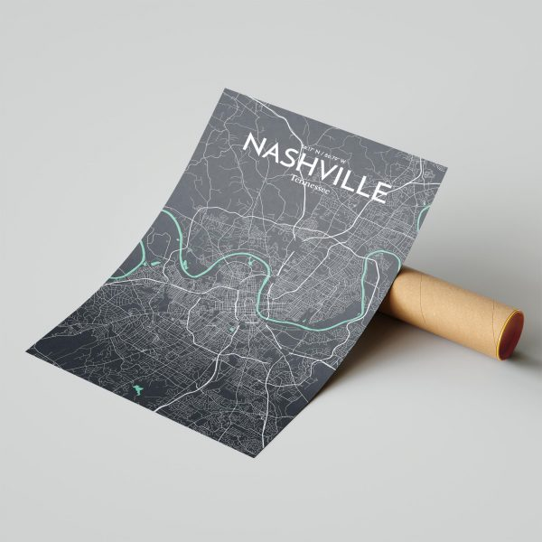 Nashville City Map Poster by OurPoster.com