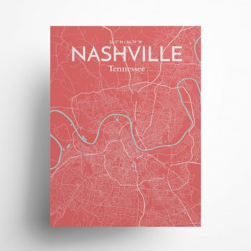 "Nashville city map poster in Maritime of size 18"" x 24"""