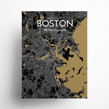 "Boston city map poster in Luxe of size 18"" x 24"""