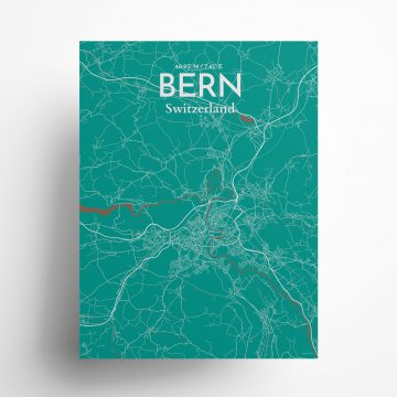 """Bern city map poster in Nature of size 18"""" x 24"""""""