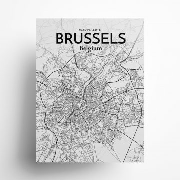 """Brussels city map poster in Tones of size 18"""" x 24"""""""