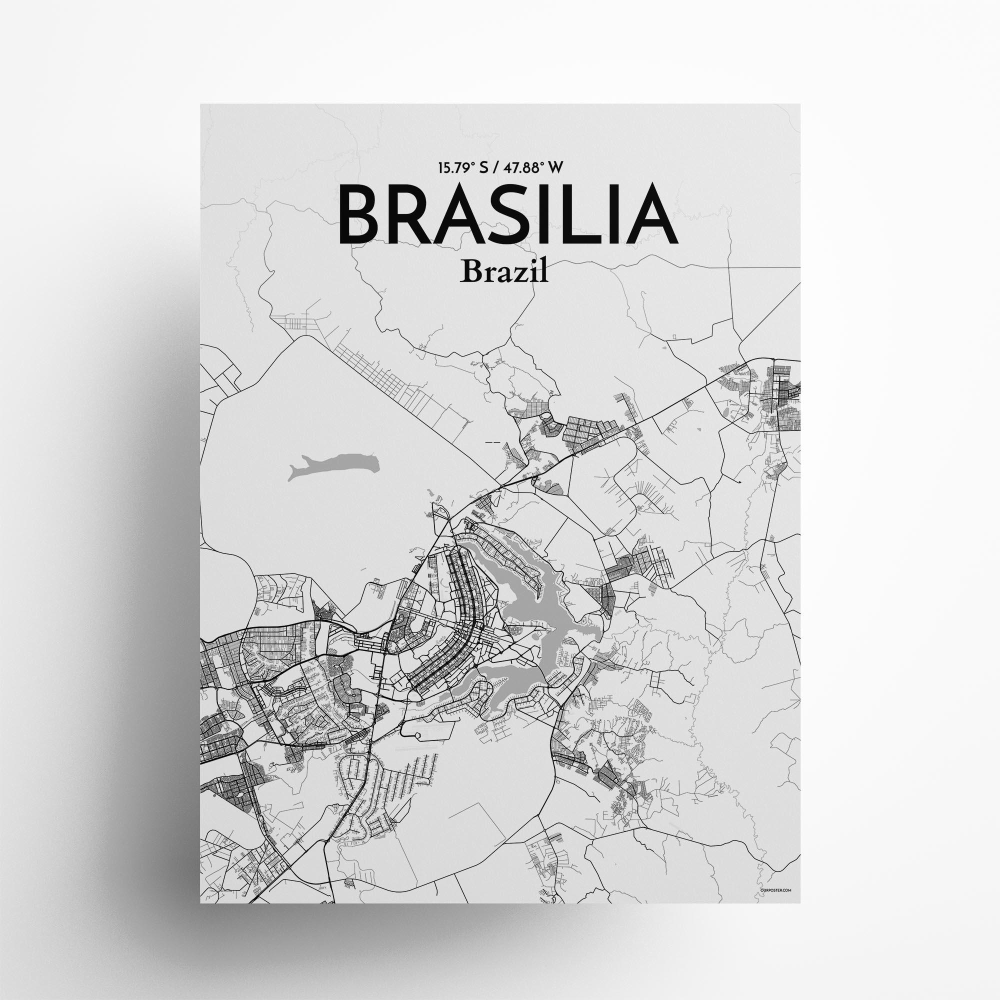 "Brasilia city map poster in Tones of size 18"" x 24"""