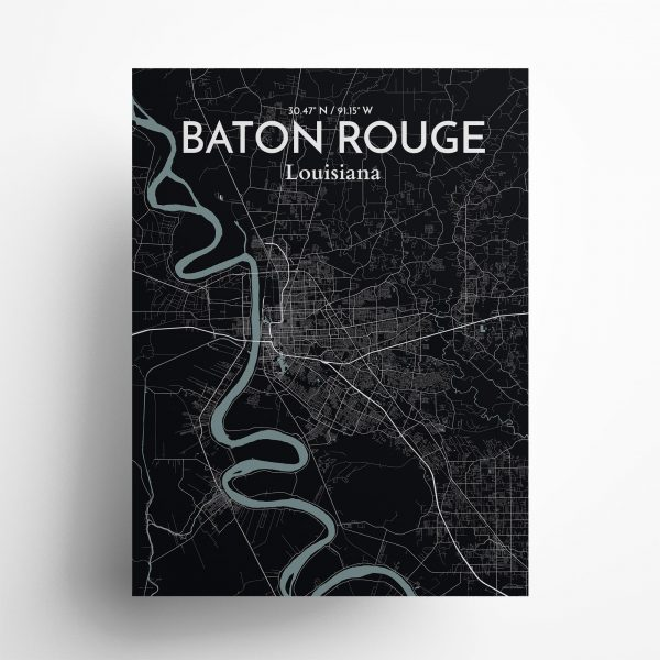 """Baton Rouge city map poster in Midnight of size 18"""" x 24"""""""