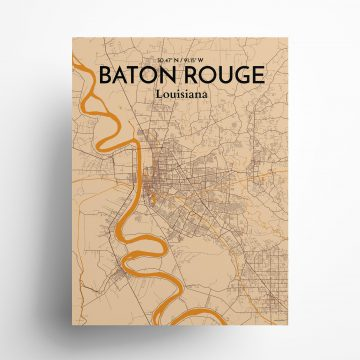 "Baton Rouge city map poster in Vintage of size 18"" x 24"""