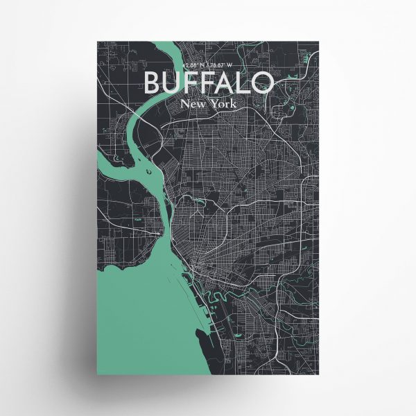 Buffalo City Map Poster by OurPoster.com