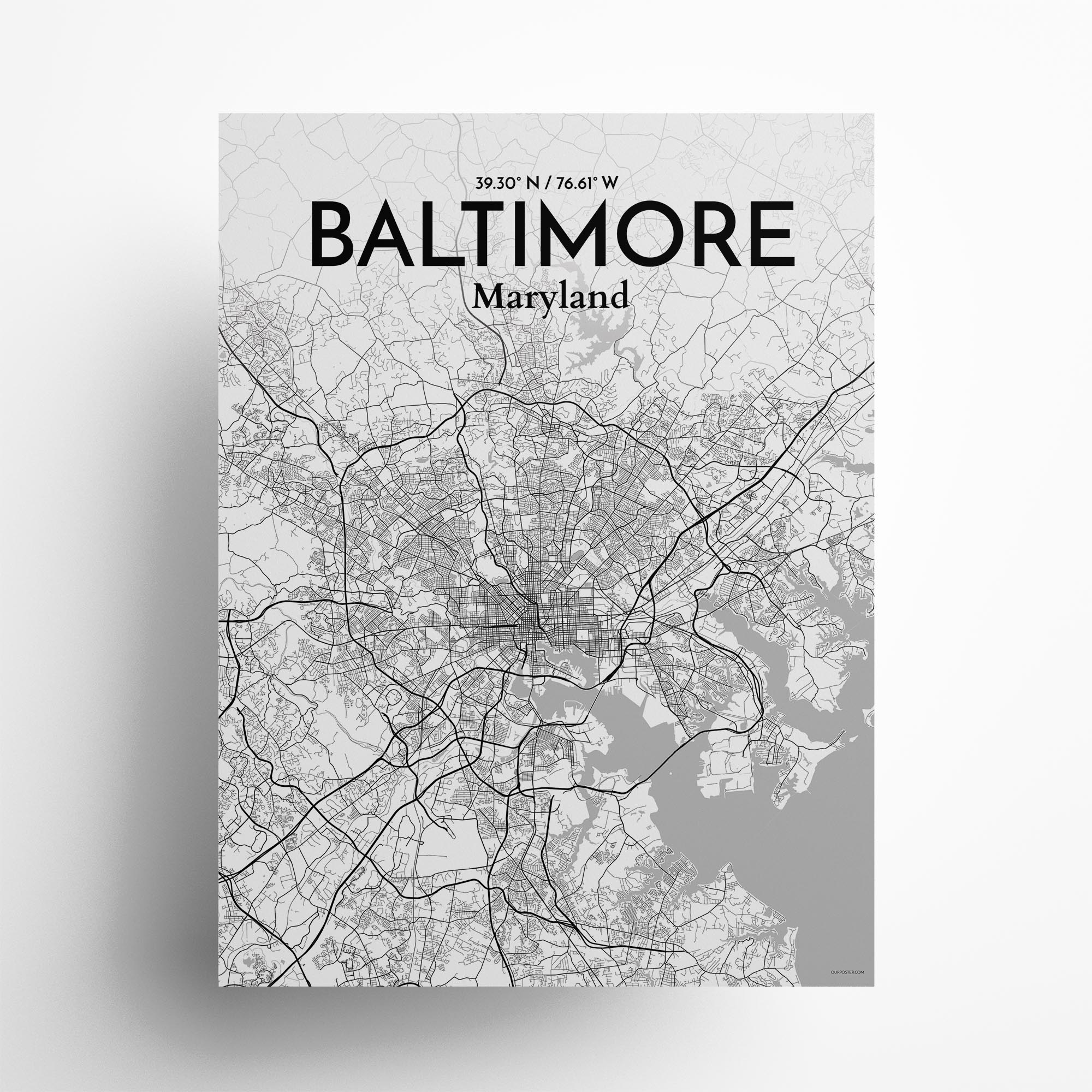 "Baltimore city map poster in Tones of size 18"" x 24"""
