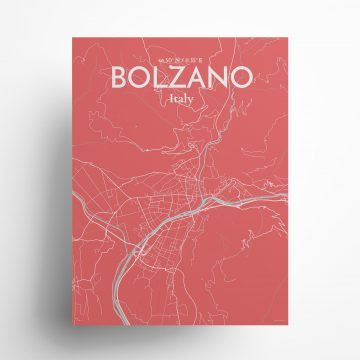"""Bolzano city map poster in Maritime of size 18"""" x 24"""""""