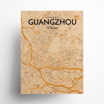 "Guangzhou city map poster in Vintage of size 18"" x 24"""