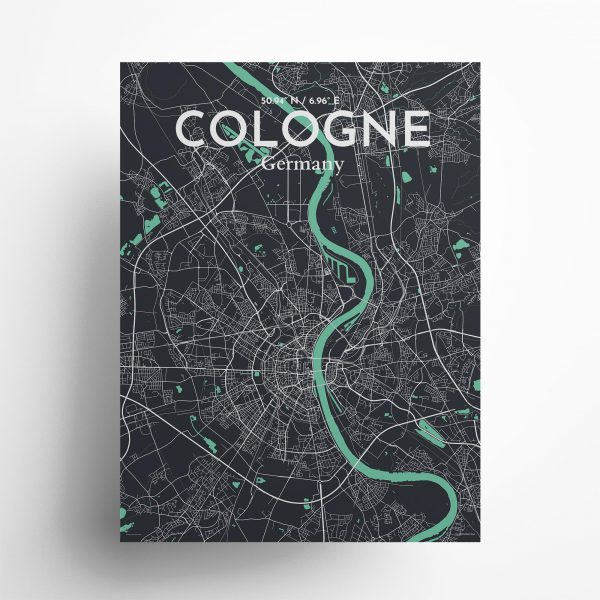 """Cologne city map poster in Dream of size 18"""" x 24"""""""