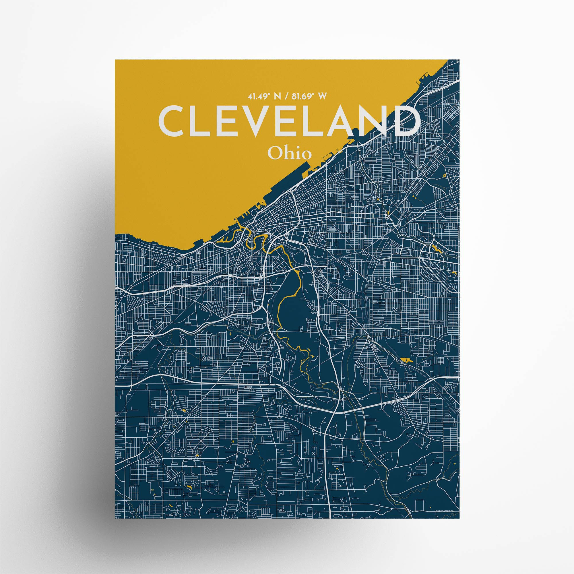 "Cleveland city map poster in Amuse of size 18"" x 24"""