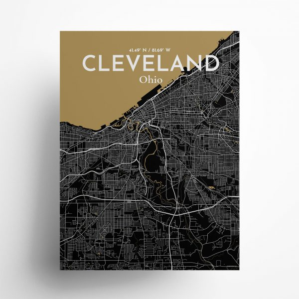 Cleveland City Map Poster by OurPoster.com