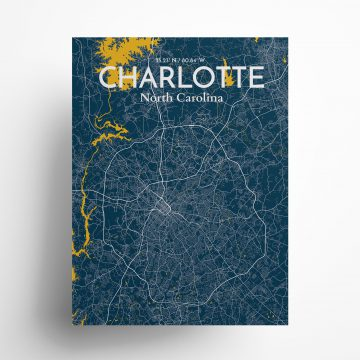"Charlotte city map poster in Amuse of size 18"" x 24"""