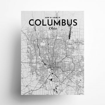 "Columbus city map poster in Ink of size 18"" x 24"""