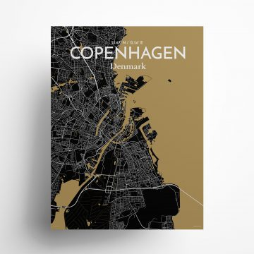 "Copengagen city map poster in Luxe of size 18"" x 24"""