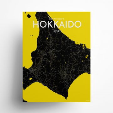 "Hokkaido city map poster in Times of size 18"" x 24"""