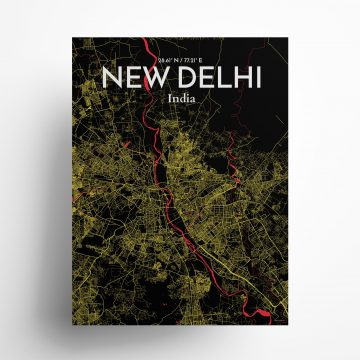 """New Delhi city map poster in Contrast of size 18"""" x 24"""""""