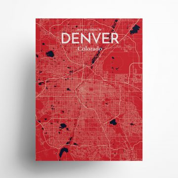 "Denver city map poster in Nautical of size 18"" x 24"""