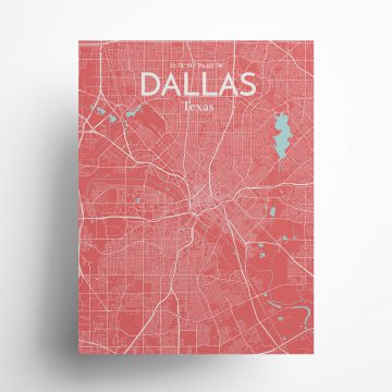 "Dallas city map poster in Maritime of size 18"" x 24"""