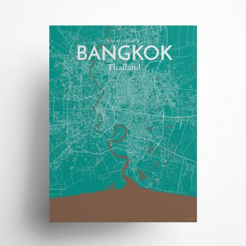 "Bangkok city map poster in Nature of size 18"" x 24"""