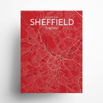 "Sheffield city map poster in Nautical of size 18"" x 24"""