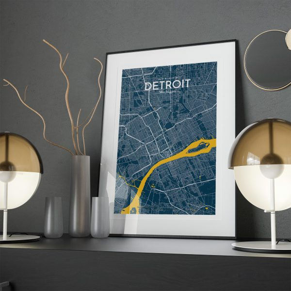 Detroit City Map Poster by OurPoster.com