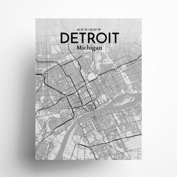 "Detroit city map poster in Tones of size 18"" x 24"""