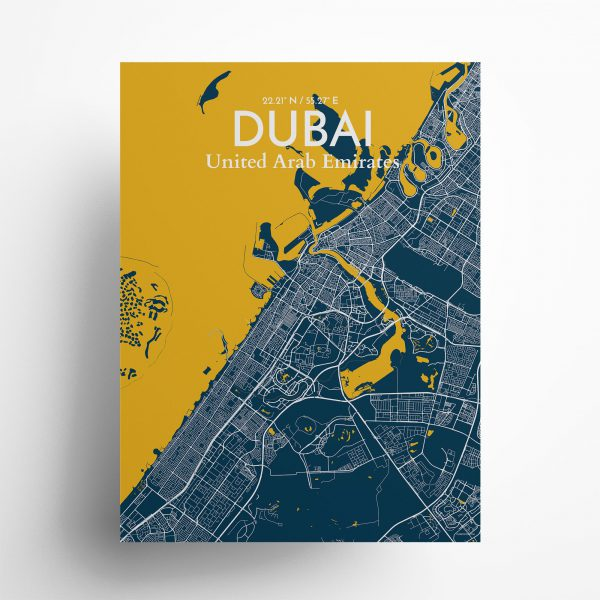 "Dubai city map poster in Amuse of size 18"" x 24"""