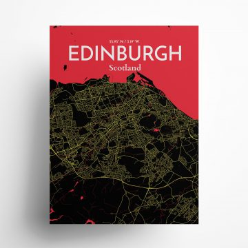 "Edinburgh city map poster in Contrast of size 18"" x 24"""