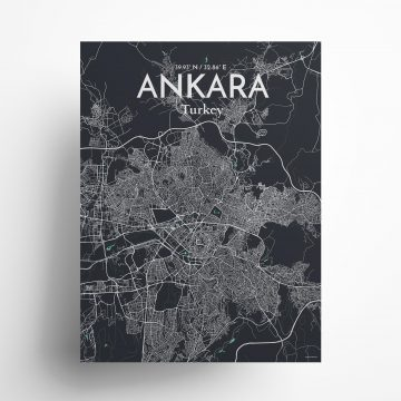"Ankara city map poster in Dream of size 18"" x 24"""