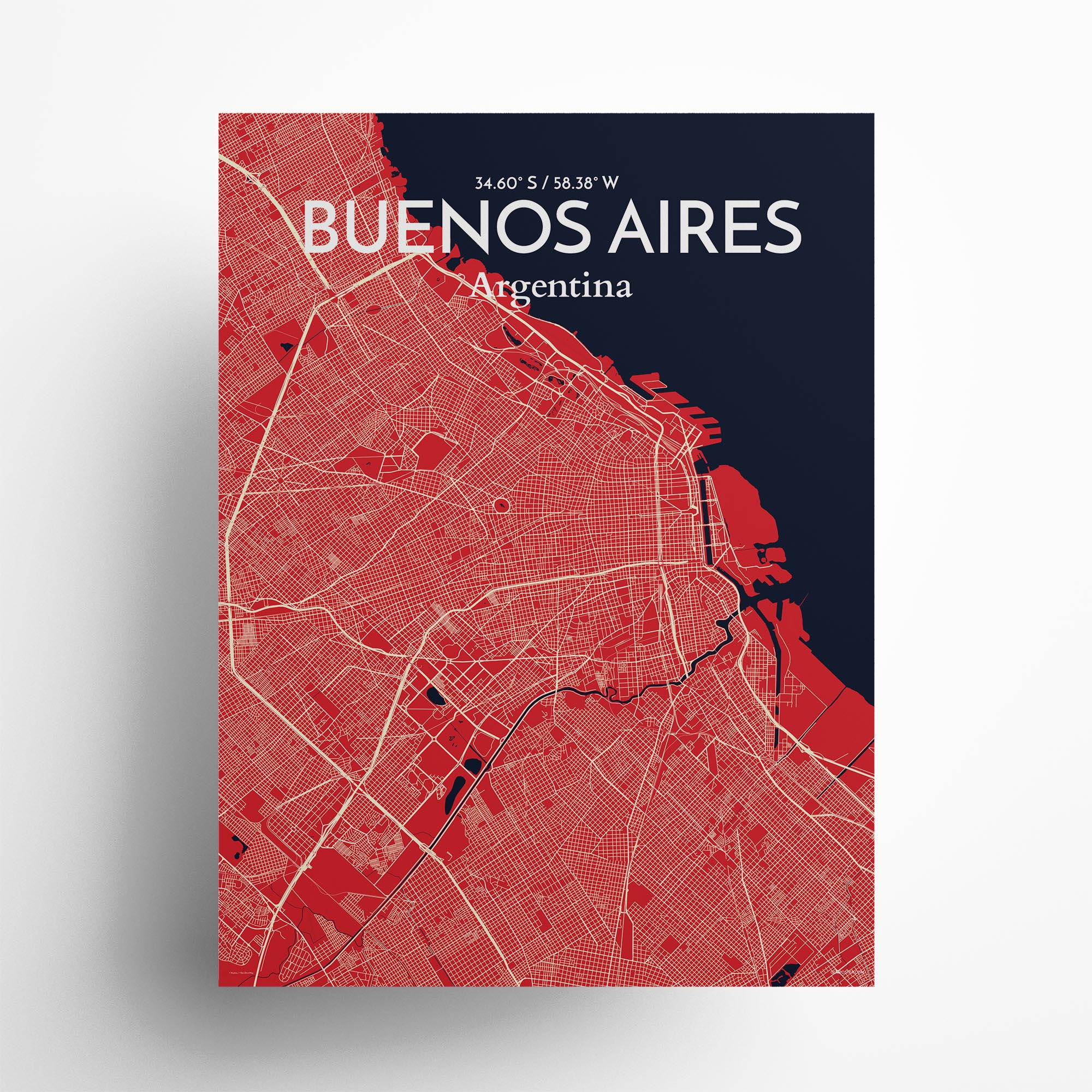 "Buenos Aires city map poster in Nautical of size 18"" x 24"""