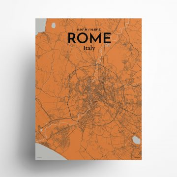 "Rome city map poster in Oranje of size 18"" x 24"""