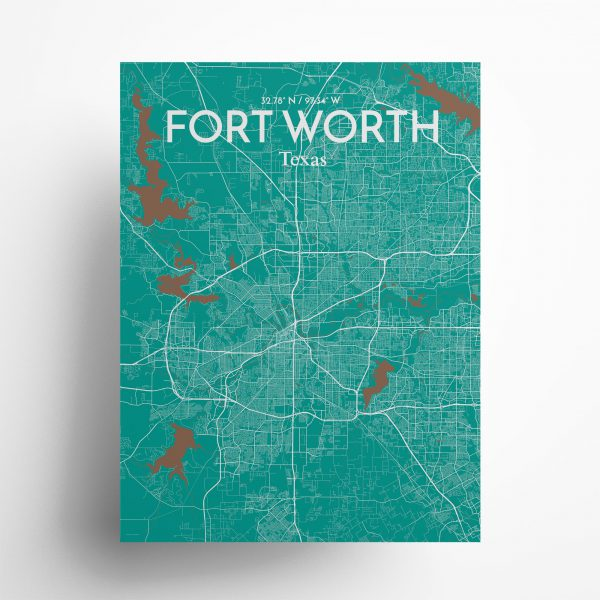 "Fort Worth city map poster in Nature of size 18"" x 24"""