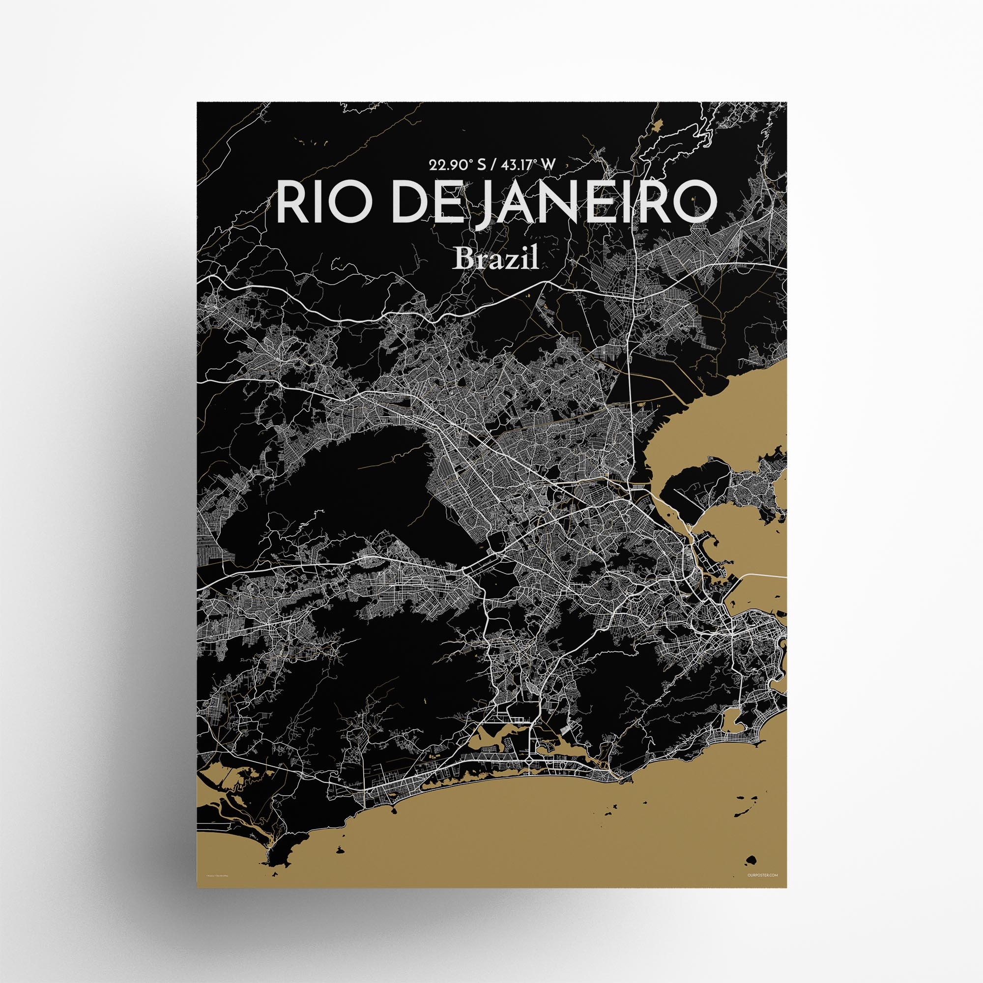 "Rio de Janeiro city map poster in Luxe of size 18"" x 24"""