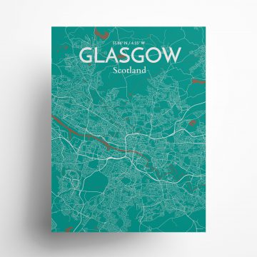 """Glasgow city map poster in Nature of size 18"""" x 24"""""""