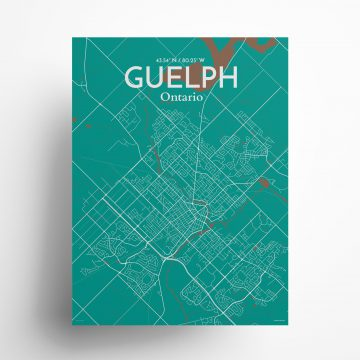 "Guelph city map poster in Nature of size 18"" x 24"""