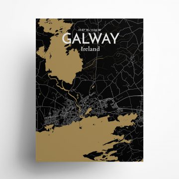 "Galway city map poster in Luxe of size 18"" x 24"""