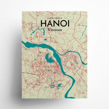 "Hanoi city map poster in Tricolor of size 18"" x 24"""