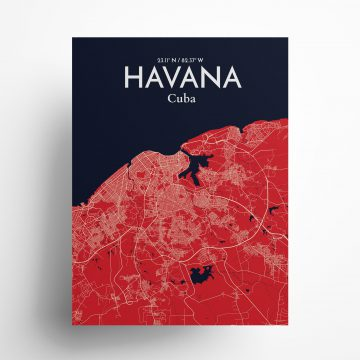"""Havana city map poster in Nautical of size 18"""" x 24"""""""