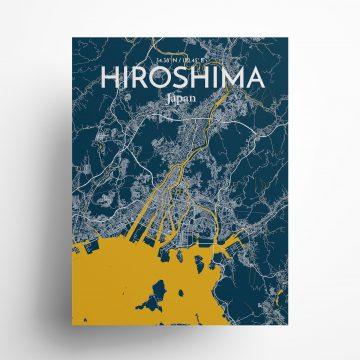 "Hiroshima city map poster in Amuse of size 18"" x 24"""