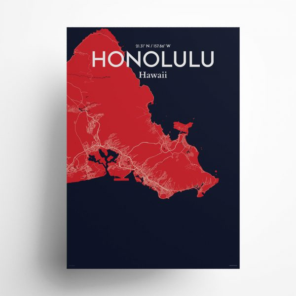 Honolulu City Map Poster by OurPoster.com