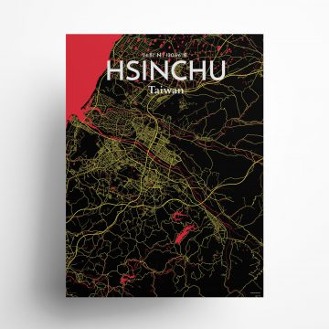 "Hsinchu city map poster in Contrast of size 18"" x 24"""