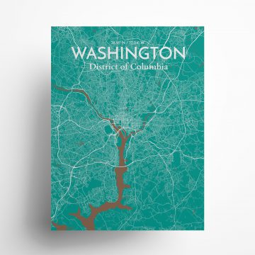 """Washington city map poster in Nature of size 18"""" x 24"""""""